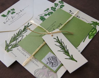 Herb Farm to Table Wedding Invitation