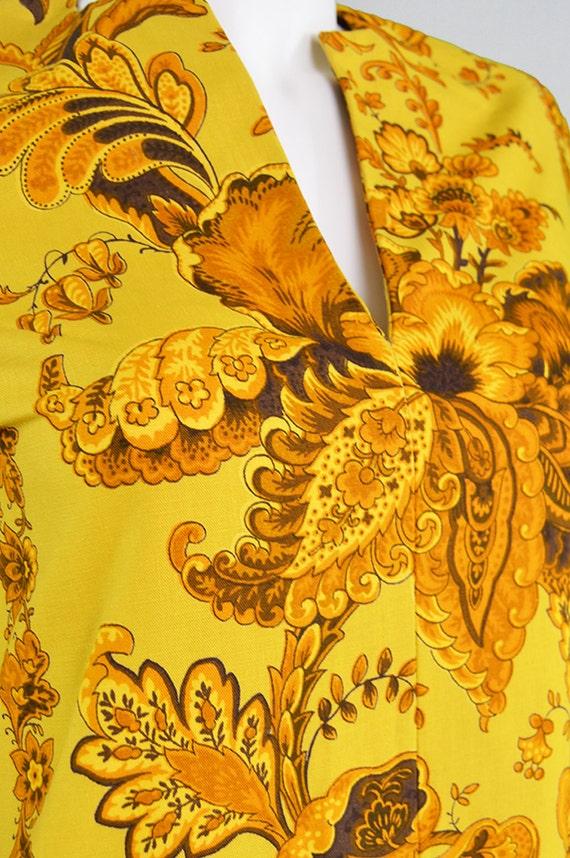 Vintage 60s JANICE WAINWRIGHT Gold Maxi Dress Kaftan Dress Boho Maxi Dress Psychedelic Print Hippie Dress Simon Massey 1960s Hippy Dress