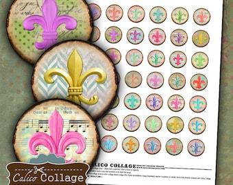 Fleur De Lis, Collage Sheet, 1 Inch Circles, Digital Circles, Images for Pendants, Bottlecap Images, Printable Ephemera, Instant Download