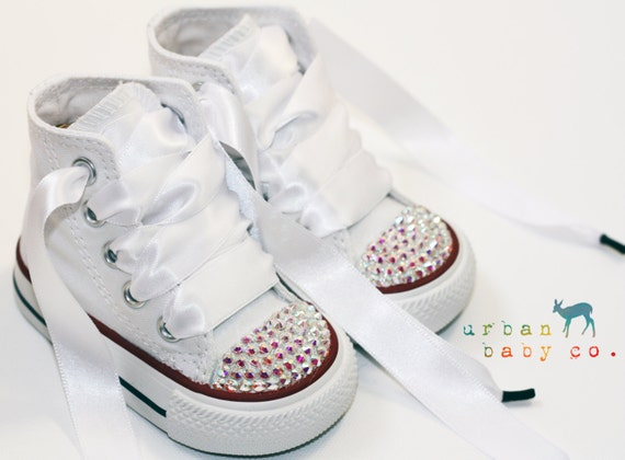 Infant, Toddler Baby Girl High Top White Converse® All Star® Chuck  Taylor's® With White Ribbon Laces & Swarovski® Crystal Rhinestones