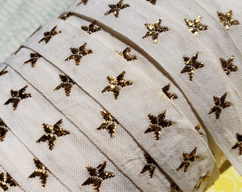 "Ivory Woven Star Trim - Metallic Polyester Gold Star Tape - 1/2"" Wide"