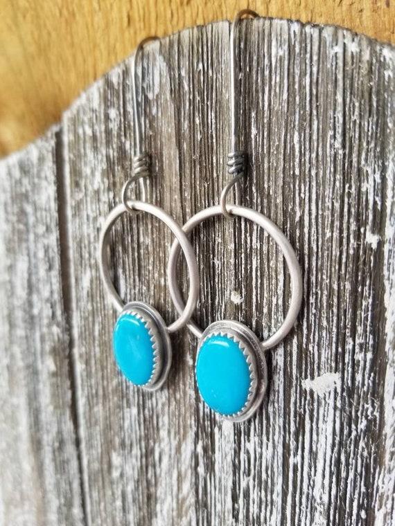 Handmade Turquoise Dangle Earrings, Sterling Silver Sleeping Beauty Hoop Earrings