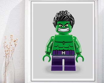 Lego Hulk Poster, Hulk Lego Style Minifig Kids Nursery Room Wall Art, Lego Superhero Wall Art, The Incredible Hulk Poster, Lego Hulk Print