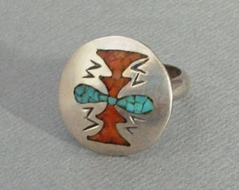 Vintage NATIVE American Turquoise RING, Coral Turquoise Navajo Ring, Native American Indian Jewelry, Sterling Navajo Ring, Gift for Her