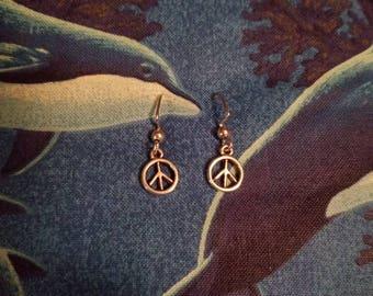 Peace Sign Hippie Dangle Earrings