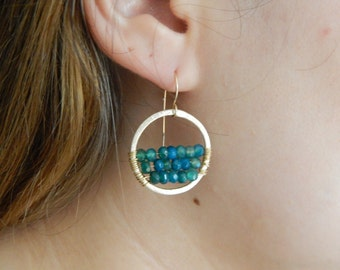Brushed gold hoop earrings with wire wrapped blue agate, dangle earrings, boho jewelry, beach chic, trendy jewelry, round earrings