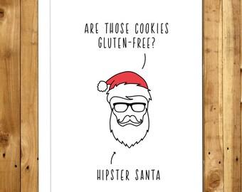 Hipster Christmas Card - Funny Christmas Card - Funny Holiday Card - Humorous Christmas Cards - Christmas Humor - Hipster Santa