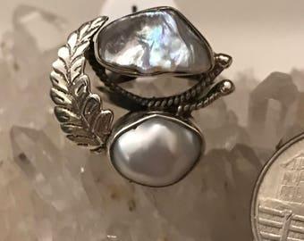 Biwa Pearl Ring, Size 6