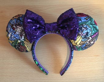 Stained Glass Beauty and The Beast inspired Minnie/Mickey/Mouse Ears Headband
