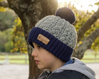 "Crochet Beanie Pattern,  Cable Beanie Crochet Pattern, crochet pattern for cabled ""Carter Beanie"" Boys Patterns, PATTERN ONLY"