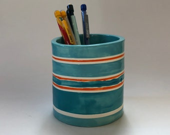 Summer Stripes pottery Pencil Cup :) home decor, ceramic hand painted stripes, colorful vase, home office decor