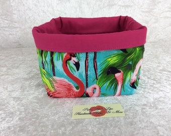 Handmade Fabric Basket Storage Bin short Tropical Flamingos
