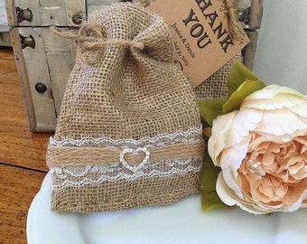 Vintage Burlap and Lace Wedding Party Favor Bags for Weddings Party Favors for Weddings, Rehearsal Dinners or Parties - Wedding Table Decor