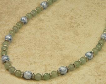 Green Aventurine and Czech Glass OOAK Beaded Necklace