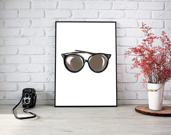 Glasses, Sunglasses, Home Decor, Style, Fashion, Wall Print
