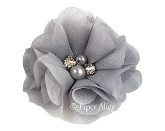 "Silver, Flutter Impatiens, Chiffon Fabric Flower, Folded Petal Flower 2.5"" - Sewn Rhinestone & Pearl Center- DIY Headband, Hair Clip, Bridal"