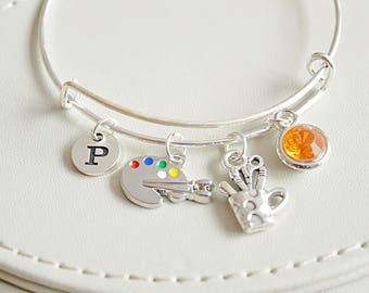 Gift For Artist, Artist Gift, Artist Bracelet, Artist jewelry, Paint Palette , Personalized Gift, Painter Gifts, Paint Brush, painter gift