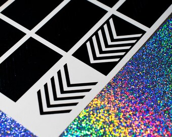 V Stripes  Nail Vinyls - Nail Decals - Nail Art - Nail Stickers - Stencils - French Tip