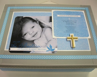 Baptism/Christening Keepsake Box with Your Invitation- Cross