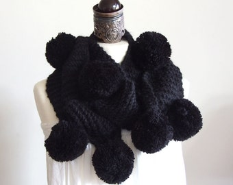 Long Scarf with huge pompoms very long in deep black / hand knitted scarf / winter fashion / gift under 100 dollars / gothic scarf