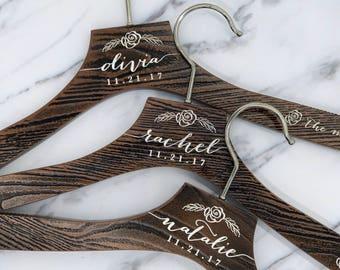 Wedding Dress Hanger, Bridesmaid Gift, Engraved Hanger, Bridesmaid Hangers, Personalized Hangers, Shower Gift, Bridal Hanger