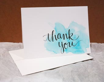 Thank You Cards: Calligraphy Style (set of 5 cards)