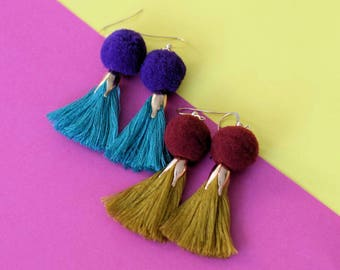 Pompom Tassel Earrings Rose Gold Filled
