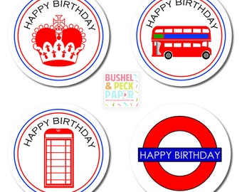 "PRINTABLE British Party 2"" Rounds - #DIY #Printable Instant #Download (for print at home: stickers, gift tags or cupcake toppers)"