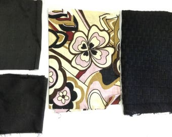 4 coupons of silk, linen cotton fabric for upholstery
