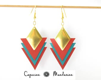 Triangle - Seagreen coral red leather earrings