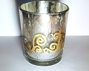 Hand-painted Silver Candle Holder