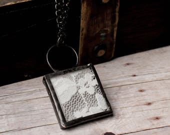 Vintage Lace Jewelry Necklace- Stained Glass Jewelry- Small Square Lace