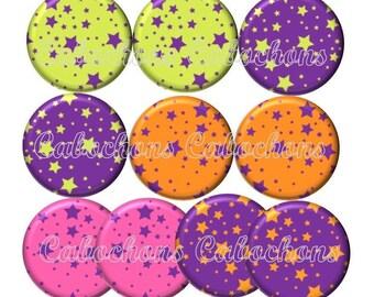 Set of 10 20mm glass, stars, ref Lot129 cabochons