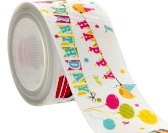"1.5"" Happy Birthday Grosgrain Ribbon - 5yds"