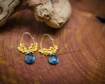 24k Gold Vermeil Blue Topaz Tear Drop Gemstone Earrings