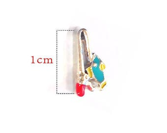 Charms floating No. 1199 Fisherman fishing rod and fish pendant with glass.