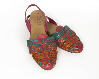 "Vintage Truffles Sz 7.5M Magenta/Orange/Turquoise ""FUN"" Brazilian Slingback Woven Leather Sandals"