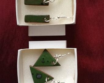 Handmade ceramic earrings, pierced drop