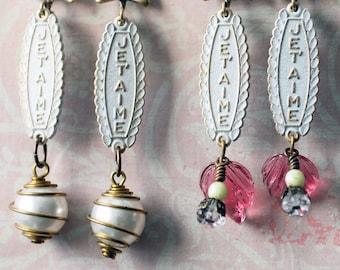 Je T'aime Earrings, I Love You Earrings, French Earrings, Shabby Chic Jewelry, Pearl Earrings, Floral Jewelry, Romantic Chic Earrings, SRAJD