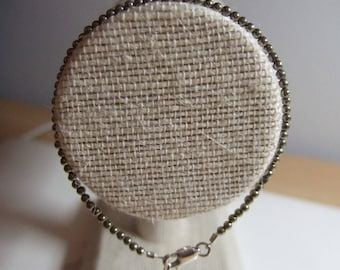 """Natural Pyrite 7"""" to 8"""" Bracelet with Sterling Silver Lobster Clasp, Findings and Extension Chain"""