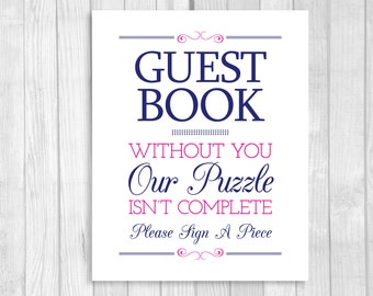 SALE Sign A Piece Puzzle Guest Book 8x10 Printable Navy Blue and Hot Pink Wedding Sign - Our Puzzle Isn't Complete - Instant Download