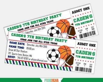 Sports ticket invitation all star birthday party thank you sports birthday invitation sports party invitation sports invitation all star invitation all filmwisefo Image collections