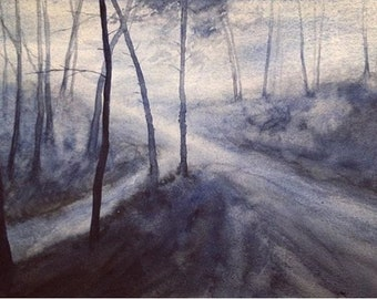 Landscape painting, landscape watercolor, moody landscape, winter trees, Misty landscape, watercolor painting, tree painting, bare trees