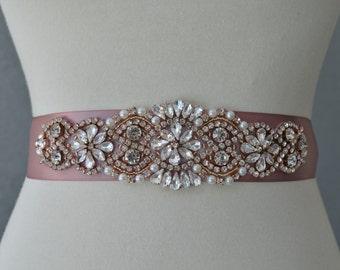 Bridal Wedding Sash Rose Gold Rhinestones Crystal Choose Color Ribbon