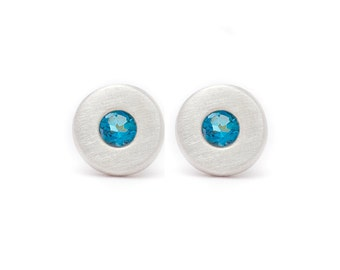 Floating Blue Topaz Stud Earrings - Sterling Silver - 7.5mm Round - Gold Disc - Small Studs - Natural Gemstones