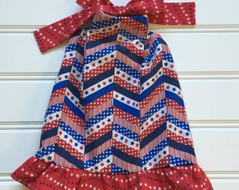 4th of July Dress, Toddler Dress, Red White Blue Dress, 4th of July Outfit, Girls Patriotic Dress, Fourth of July Clothes, 18 months