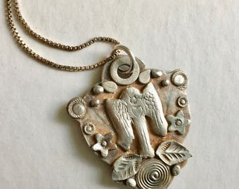 new artisan fine silver angel amulet necklace