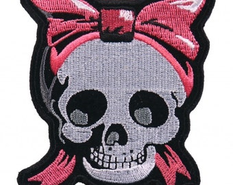 """SKULL GIRLY, High Thread Embroidered Iron-On / Saw-On, Heat Sealed Backing Rayon PATCH - 3"""" x 3"""""""