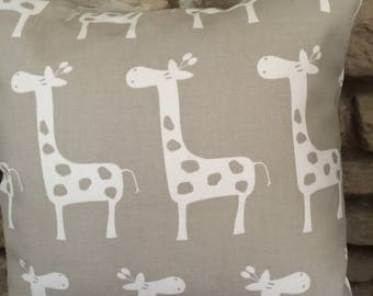 Animal Nursery Pillow, Giraffe Pillow, Beige and White