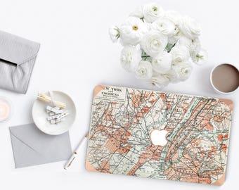 Macbook Pro 13 Case Macbook Air Case Laptop Case Macbook Decal Old  York Manhattan Map with Rose Gold Chrome Edge